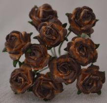 1 cm DARK CHOCOLATE BROWN Mulberry Paper Roses
